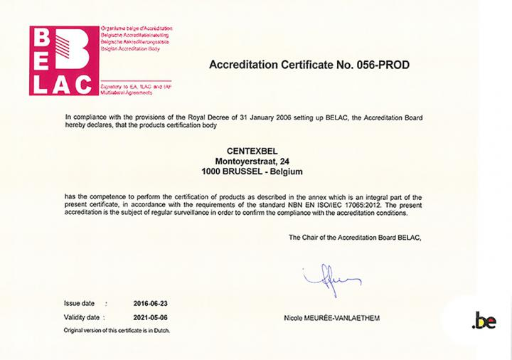 Accreditation Certificate Belac